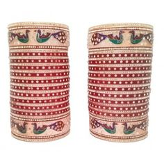 Exlusive Wedding Bangles Peacock Design Punjabi Chura available online at www.indianbridalhome.com