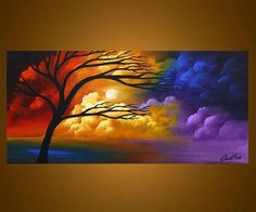 Modern landscape painting by the artist Osnat Tzadok. Choose from thousands of modern, contemporary and abstract paintings in this online art gallery. Artwork: 'Stairway to Heaven', dimensions: Acrylic Landscape, Canvas Painting Landscape, Easy Canvas Painting, Landscape Art, Canvas Art, Pictures To Paint, Art Pictures, Sunrise Painting, Online Art Gallery