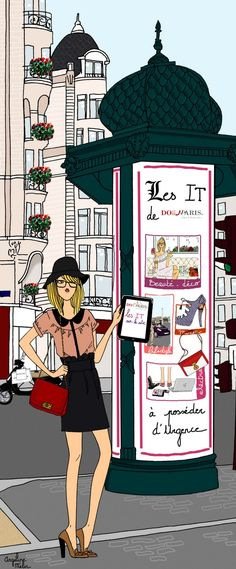 Do it in Paris by Angeline Melin Illustration Parisienne, Paris Illustration, Woman Illustration, Graphic Design Illustration, New York Fashion, Paris Fashion, Fashion Art, A Day In Paris, Parisienne Style