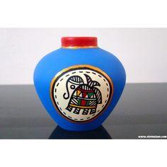 Terracotta Vase Blue Rajasthani with Madhubani Painting - Madhubani Art - Pottery Painting Designs, Pottery Designs, Paint Designs, Madhubani Art, Madhubani Painting, Vase Crafts, Bottle Crafts, Fabric Painting, Diy Painting