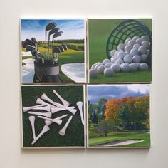 Handmade Golf Theme Ceramic Coaster Set of 4 by HashtagCoasters