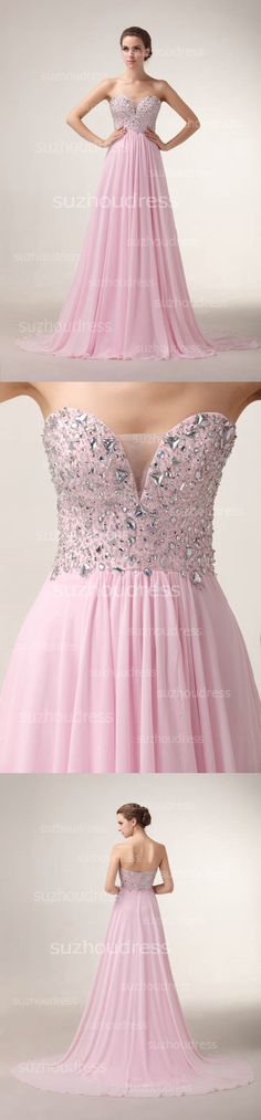 2015 Gorgeous Evening Dresses Sweetheart Sleeveless Crystal Sequined Sweep Train Zipper Chiffon Prom Gowns