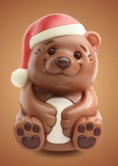 3D chocolate bear on Behance