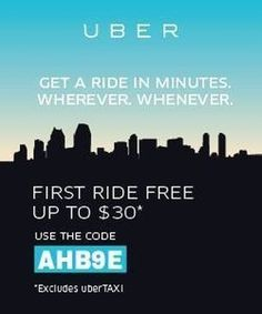 """""""YOU GOT A FREE RIDE Welcome to Uber, the easiest way to get around at the tap of a button. Sign up now to claim your free gift from AHB9E($15 off first ride)*. *Free ride value amounts vary by city. #Napa #NewportBeach #Oakland #Oceanside #PalmSprings #PalmDesert #PaloAlto #MenloPark #Pasadena #Pleasanton #Poway #RanchoCucamonga #Redlands #Richmond #Riverside #Roseville #Sacramento #Salinas #SanBernardino #SanDiego #SanFrancisco #SanJose #Ubercode #Uber #Uberpromocode #Uberfree #Uberride…"""