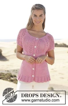 """Knitted DROPS jacket with short sleeves, round yoke and lace pattern in """"Paris"""". Size: S - XXXL. ~ DROPS Design"""
