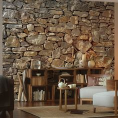 Stone Wall Wall Mural design by Komar for Brewster Home Fashions Classic Home Furniture, Contemporary Furniture, Stone Accent Walls, Stone Wallpaper, Wallpaper Wallpapers, Wallpaper Murals, Wallpaper Ideas, Rustic Stone, Classic House