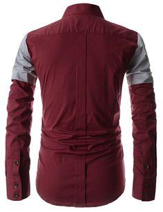 7073961598c Showblanc (SBDST3) Man Slim Fit 2 Tone Colored Shoulder Casual Cotton Shirts  RED US XS(Tag size M)