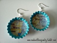 Miami/Boston Map Bottle Cap Earrings  SEE MORE AT: www.madewithlovejewelry.tumblr.com  https://www.facebook.com/MadeWithLoveJewelryByShana