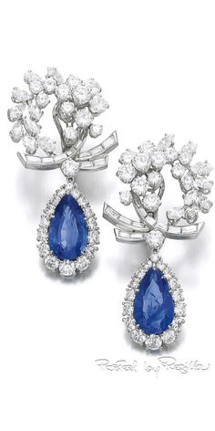 Regilla ⚜ Pair of sapphire and diamond ear clips, Bulgari