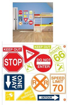Road Signs Peel and Stick Decals - Wall Sticker Outlet
