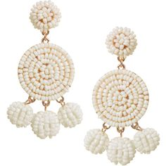 Humble Chic NY Peppy Disc Dangles ($38) ❤ liked on Polyvore featuring jewelry, earrings, off white, beads jewellery, beaded jewelry, chandelier earrings, dangle chandelier earrings and disc earrings