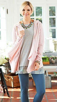 LOGO Lounge by Lori Goldstein French Terry Cardigan