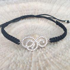 Macrame bracelet Silver zirconia bracelet with by CharmByIA, $20.00