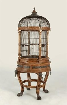 Wooden Victorian domed antique bird cage by DrMichaelFleischer