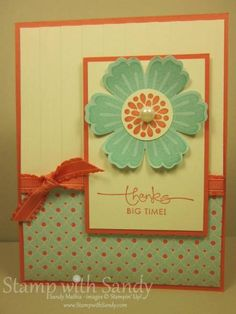 """Stamp Sets: Mixed Bunch, A Word For You  Card Stock: Very Vanilla, Calypso Coral, Pool Party  Designer Series Paper: Everyday Enchantment  Ink Pads: Calypso Coral, Pool Party  Tools: Big Shot, Stripes Embossing Folder, Blossom Punch, 1"""" Circle Punch  Accessories: Calypso Coral Ruffled Ribbon, Large Pearls"""