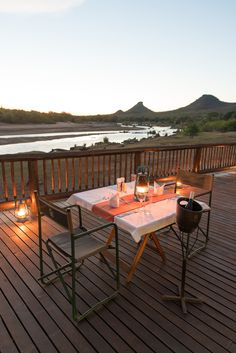 Enjoy your dinner with the sunset looking over the Olifants River. Kruger National Park, National Parks, Tourism Marketing, River Lodge, Outdoor Tables, Outdoor Decor, South Africa, Safari, Patio