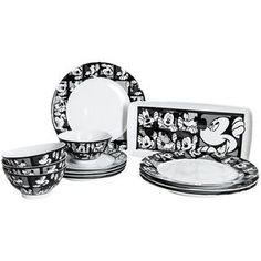 Disney Mickey Grid Dinner Plates - Porcelain, Set of 4 in Mickey Grid