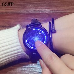 GSWP Creative Personality Touch Screen Waterproof LED Watch Leather Men Women Couple Watch Smart Electronic Casual Watches - Online Shopping for Watches