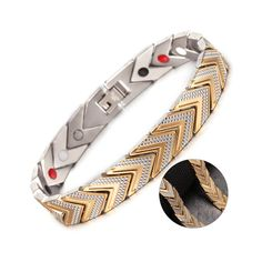 Gold Plated Triangular Link Stainless Steel Bracelet with Magnetic Germanium Beads Material: Stainless Steel ( Nickel free/ lead free ) perfect for sensitive skin Bracelet Length - Bracelet Width - Stainless Steel Jewelry, 316l Stainless Steel, Domino Effect, Neodymium Magnets, Lead Free, Plating, Personalized Items, Beads, Sensitive Skin