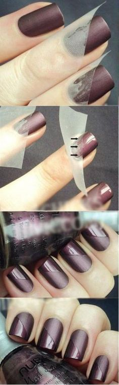 idée nail art facile, manucure au scotch