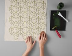 Love this repeating leaf pattern, from Mastering the Art of Fabric Printing and Design by Laurie Wisbrun