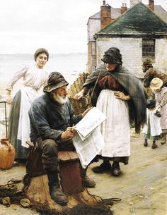 Walter Langley - When the Boats are Away William Adolphe Bouguereau, Winslow Homer, Art And Illustration, Simple Oil Painting, Great Paintings, Oil Paintings, Oil Painting Reproductions, Am Meer, Fine Art