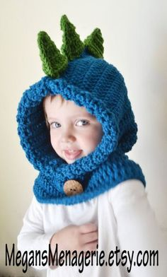 Items similar to Dinosaur Hat - Dinosaur Hoodie - Dinosaur Cowl - Animal Hat - Hooded Scarf - Crochet Hoodie - Dino Hoodie - Christmas Gift for Kids on Etsy Chunky Crochet Hat, Crochet Hooded Scarf, Crochet Hoodie, Crochet Baby Hats, Crochet Beanie, Crochet Scarves, Crochet Clothes, Knitted Hats, Crochet Dinosaur Hat