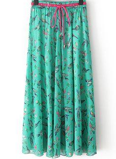 Green Floral Birds Print Pleated Skirt - Sheinside.com