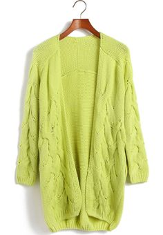 Green Long Sleeve Cable Knit Cardigan Sweater -