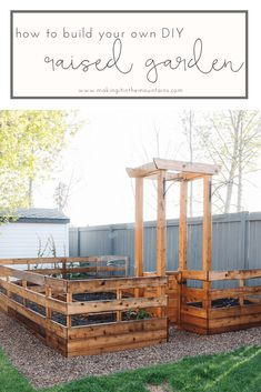 This DIY Enclosed garden not only looks beautiful, but it does a great job of keeping animals out of your garden beds. A perfect weekend project, you won't believe how simple and inexpensive building your own fenced raised garden bed can be! Outdoor Furniture Sets, Outdoor Decor, Pallet Furniture, Furniture Ideas, How To Make Bed, Raised Garden Beds, Build Your Own, Diy On A Budget, Outdoor Gardens