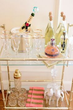Loving this sparkly bar cart.