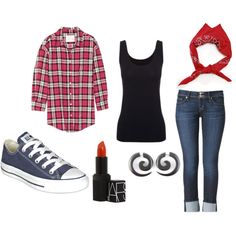 """""""Rockabilly"""" just need the fake gauges that I can get for real, the amazing grey converse, and the red lipstick, and the cute flannel"""
