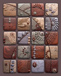 Artist: Chris Gryder - Medium: Ceramic Tiles.  It could be done with polymer clay tiles or salt clay, baking soda clay, etc. Your choice.