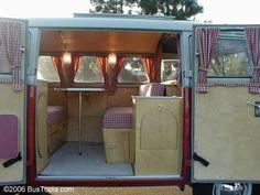 custom red-checked interior on 60's VW Westfalia bus