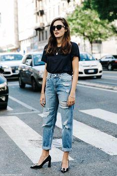basic black tee, high-waisted ripped boyfriend jeans & buckle toe heels #style #fashion #streetstyle #milan