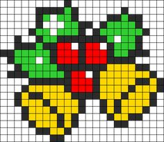 Bells And Holly Perler Bead Pattern / Bead Sprite