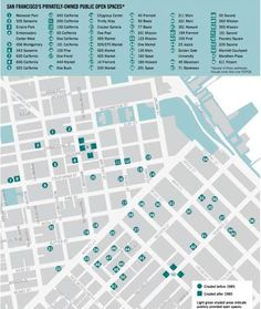 A map of most (but not all) POPOS in San Francisco. Photo: SPUR: San Francisco Planning And Research Association