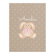 #Cute Girly Sweet Adorable Baby Bunny Rabbit Kids Fleece Blanket - #giftideas for #kids #babies #children #gifts #giftidea