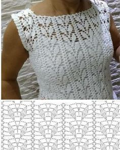 Love Crochet, Beautiful Crochet, Crochet Lace, Crochet Stitches, Knitting Charts, Knitting Patterns, Crochet Patterns, Crochet Diagram, Crochet Blouse