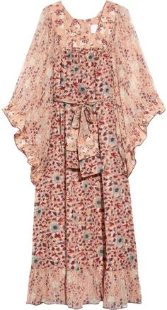 Anna Sui Pink Embroidered Silkorganza Maxi Dress