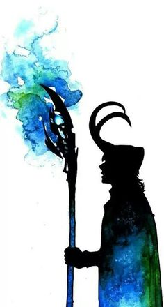 Loki silhouette. I love this painting! Simple yet effective:) credit to the artist!