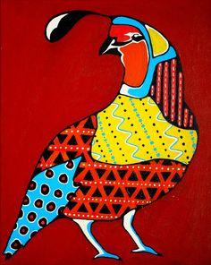 Southwestern Folk Art Quail Painting by ShaeJDesigns on Etsy