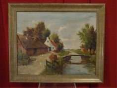 Lot: OIL ON CANVAS PAINTING, EUROPEAN CANAL SCENE, SIGNED C., Lot Number: 0119, Starting Bid: $60, Auctioneer: Wilton Gallery, Auction: HUGE MULTI ESTATE AUCTION, Date: December 27th, 2016 PST