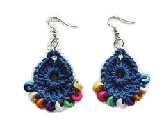 Handmade Blue Earrings With Wooden Beads - Handwoven Jewelry.