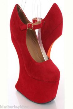 "Have one to sell? Sell it yourself Sexy Red Mary Jane heelless Platform 7"" Crescent gravity Wedge Heel Pumps sz 5.5"