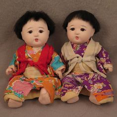 Vintage Japanese Dolls Ichimatsu Child Pair