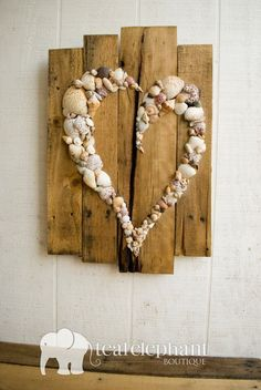 Pallet Art Natural Shell Skewed Heart Wall Hanging Rustic Shabby Chic Seaglass Sharksteeth Nautical Seashore