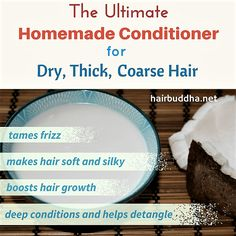 hair mask Coconut milk is a natural hair conditioner for dry coarse hair. It leaves hair soft, silky and bouncy in minutes. Dry Frizzy Hair, Hair Mask For Damaged Hair, Diy Hair Mask, Hair Masks, Diy Mask, Homemade Conditioner, Natural Hair Conditioner, Homemade Shampoo, Homemade Hair