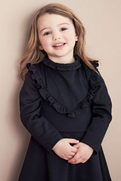 Charcoal Ponte Dress With Frill (3mths-6yrs)