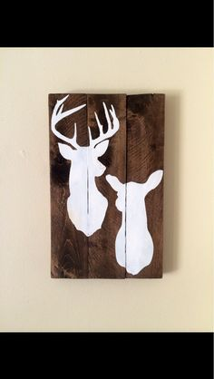 Rustic hand painted reclaimed pallet wood sign with deer silhouette
